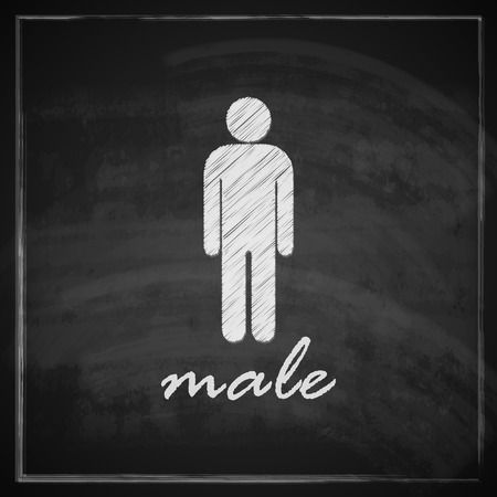 vintage illustration with male sign on blackboard background Vector