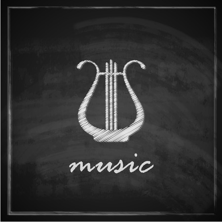 vintage illustration with the harp on blackboard background  music illustration Vector