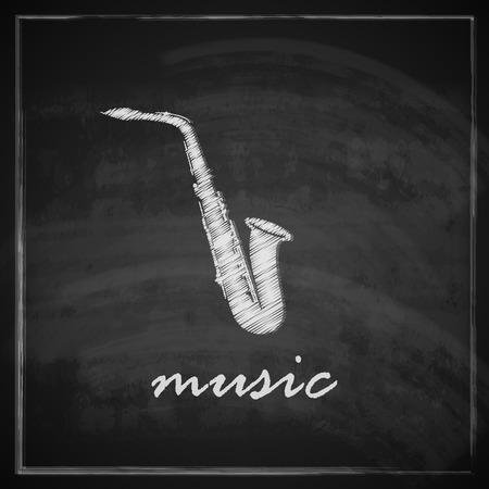 vintage illustration with the saxophone on blackboard background  music illustration Stock Vector - 26195932