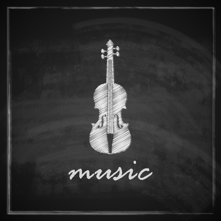 vintage illustration with the violin on blackboard background  music illustration