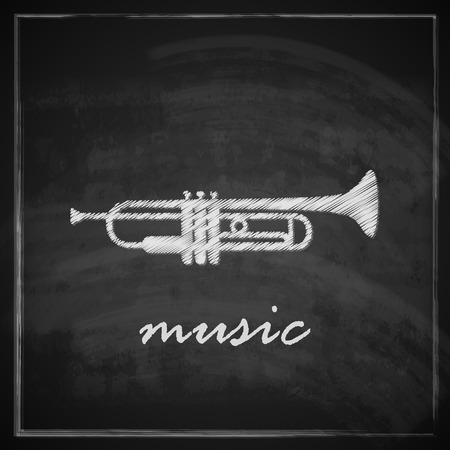 vintage illustration with the trumpet on blackboard background  music illustration Vector