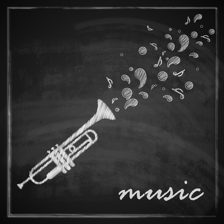 musical band: vintage illustration with trumpet on blackboard background  music illustration