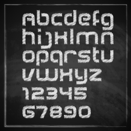 vector set of chalk sketched characters on blackboard background  artistic font  Vector