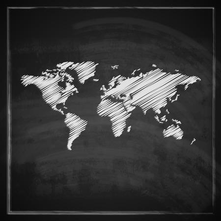 vintage illustration with the world map on blackboard background Vector