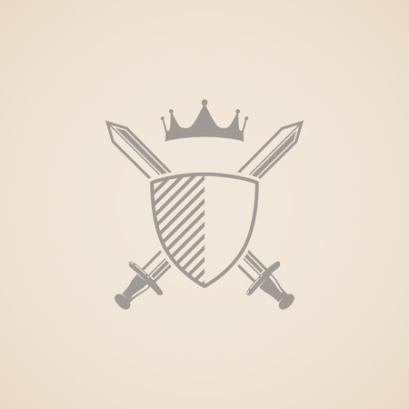 sword fight: coat of arms  vector illustration with shield, swords and crown