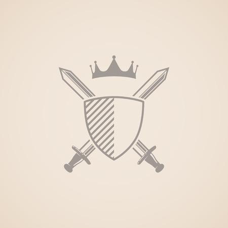 escudo de armas con la ilustración vectorial de escudo, espadas y corona