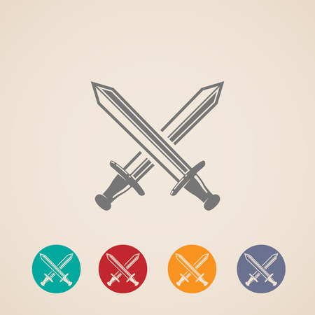 sword fight: set of crossing swords icons  fight concept
