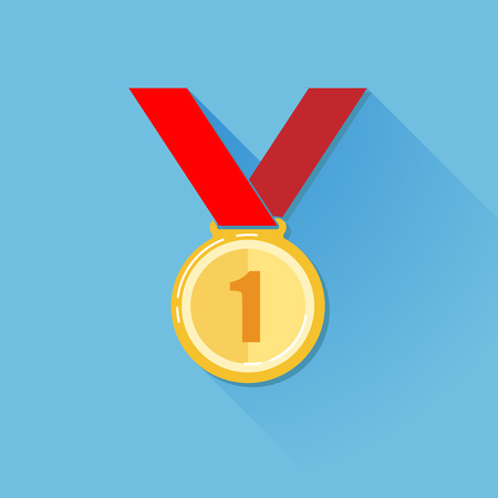 gold medal: vintage illustration of a golden medal in flat style with long shadow