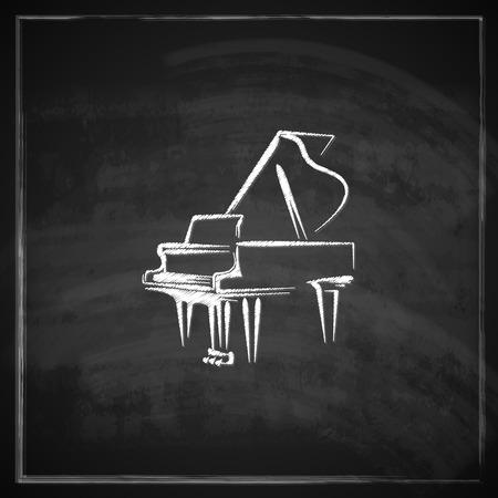 칠판 배경에 그랜드 피아노와 빈티지 그림 일러스트