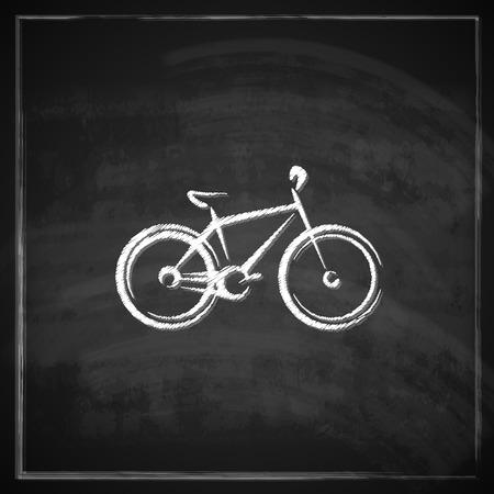 vintage illustration with a bike on blackboard background   Vector