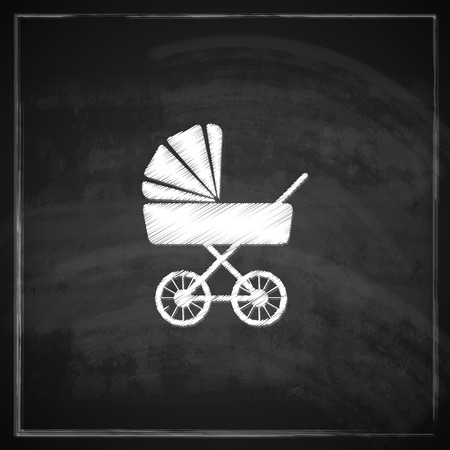 vintage illustration with a pram on blackboard background   Vector