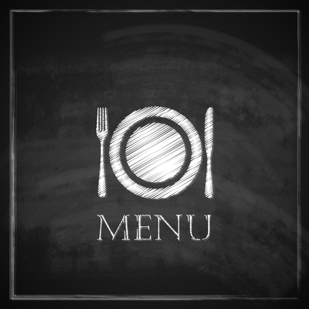 dinner plate: vintage illustration with restaurant menu design on blackboard background   Illustration