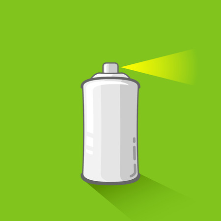 paint tin: aluminum spray can on green background  aerosol spray can or metal bottle in flat style Illustration