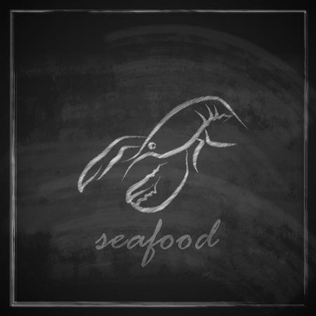 vintage illustration with a lobster on blackboard background Vector
