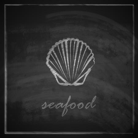 clam illustration: vintage illustration with a clam on blackboard background Illustration