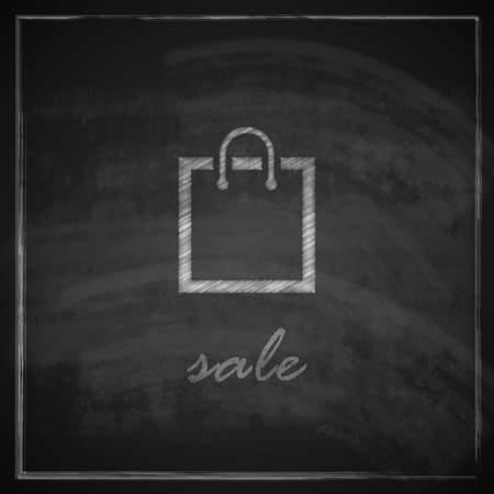 e retailers: vintage illustration with a shopping bag on blackboard background  sale concept