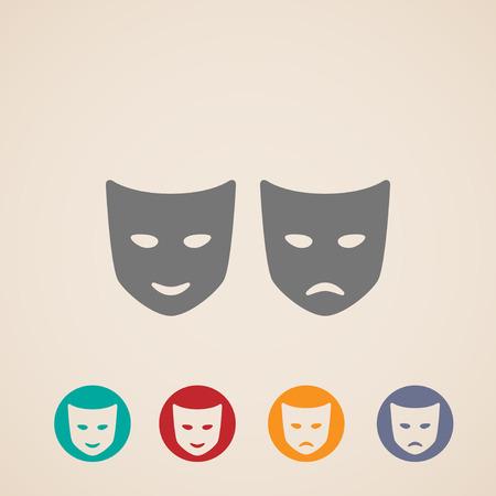 pantomima: icono de conjunto de máscaras de teatro Vectores