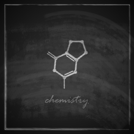 vintage illustration with molecular icon on blackboard background Vector