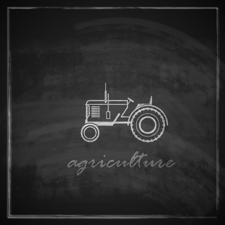 tractor sign: vector illustration with tractor icon on blackboard background  farm concept