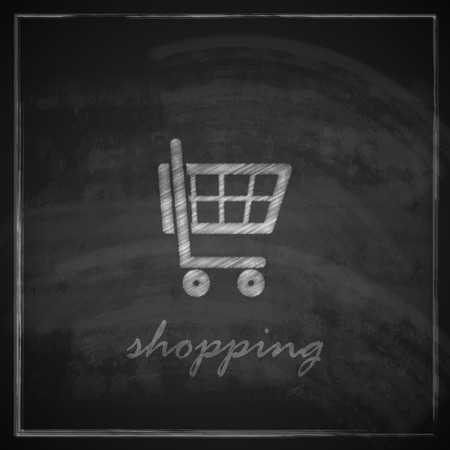 e retailers: vintage illustration with a shopping cart on blackboard background