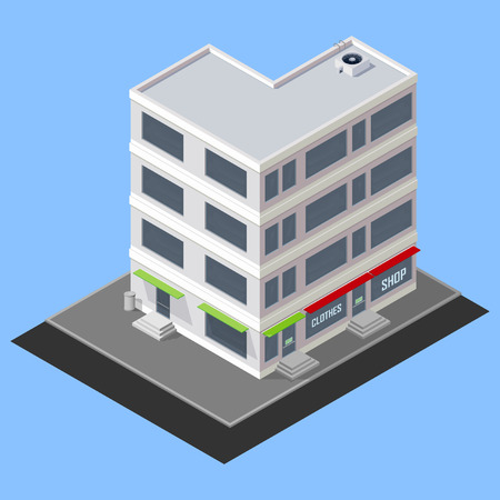 awnings: vector isometric building
