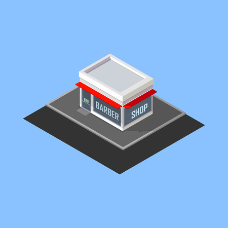building bricks: vector isometric barber shop building