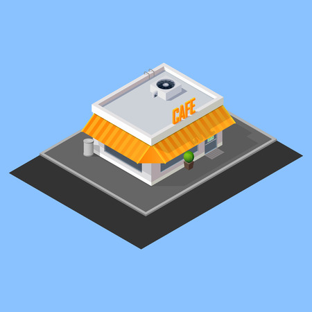 vector isometric cafe building Vector
