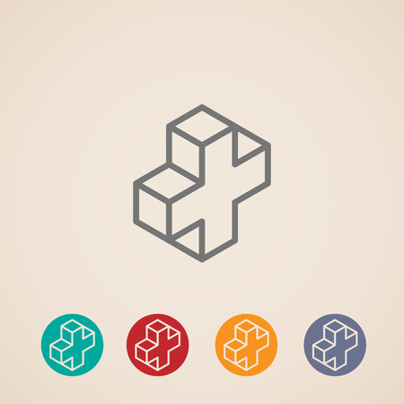 addition symbol: isometric icons with addition sign