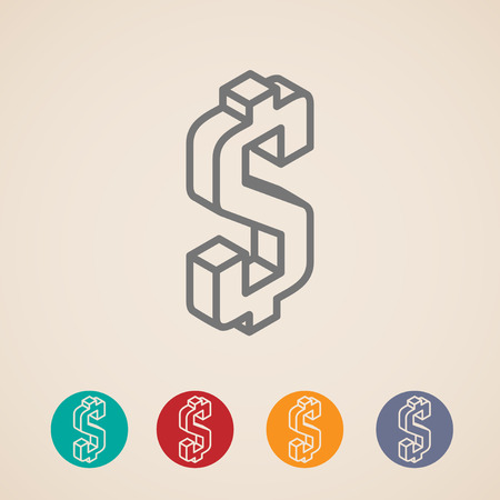 dollar sign icon: isometric vector icons with dollar sign