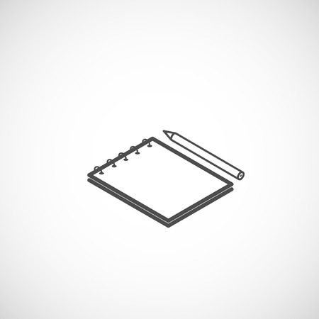 isometric vector icon of notepad and pencil Vector