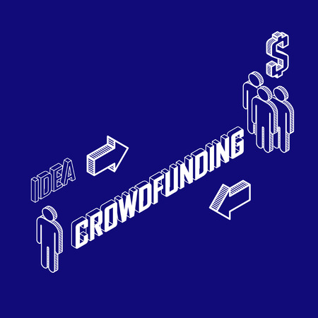 Infographic crowdfunding concept with isometric icons  Business concept Vector