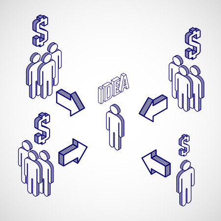 crowd sourcing:  Infographic crowdfunding concept with isometric icons  Business concept Illustration