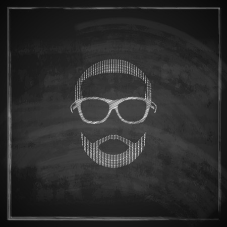 vintage chalk illustration of male head with sunglasses on blackboard background Vector