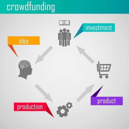 Infographic crowdfunding illustration for web or print design  Business concept Vector