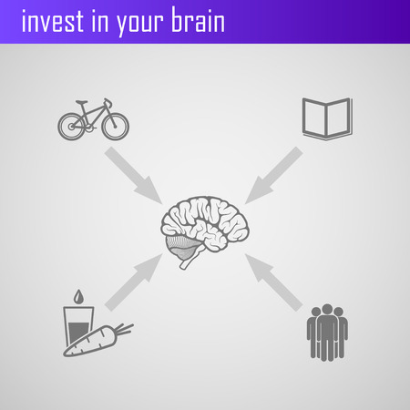 out of body: invest in your brain  Infographic elements for web or print design Illustration