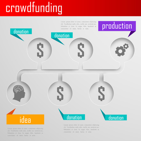 crowd sourcing: Infographic crowdfunding illustration for web or print design  Business concept
