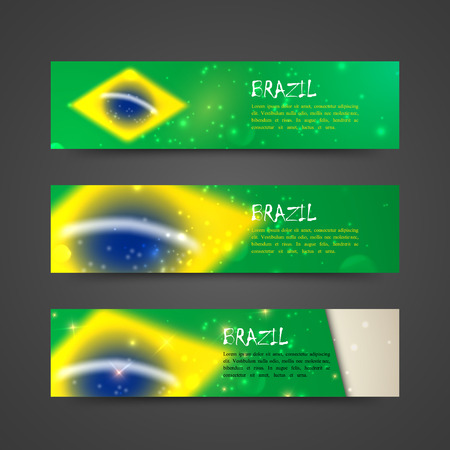 set of vector banners with watercolor effect in brazil flag concept for web design  Vector