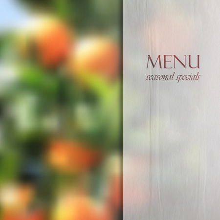 specials: Restaurant menu design on blurred background of orange grove with semi transparent wrinkled paper texture