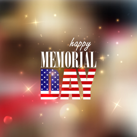 a holiday greeting: Holiday blurred background with sparkles  4th of July  Happy memorial day