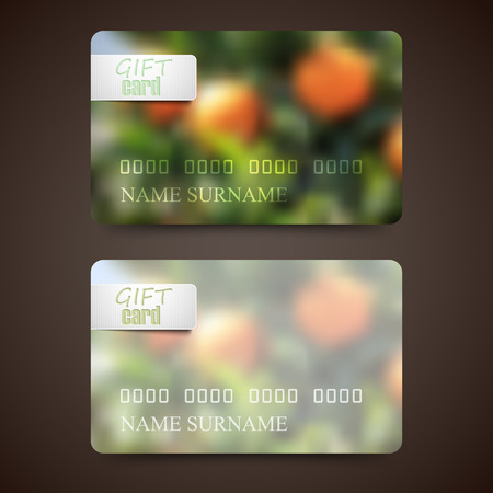 orange grove: Set of gift cards with blurred background of orange grove, vector design