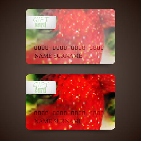 rinds: Set of gift cards with blurred background of ripe strawberries, vector design Illustration