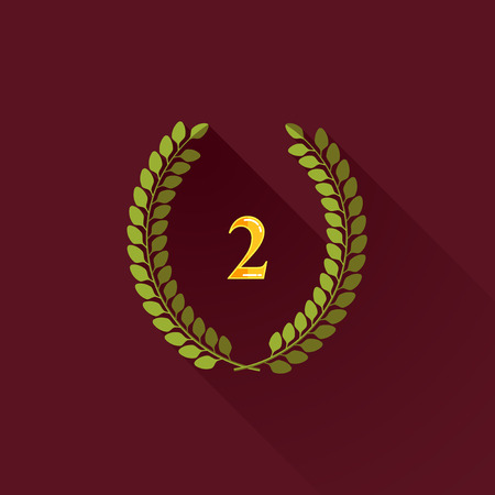 vector illustration with laurel wreath in flat design with long shadow  2 place Vector