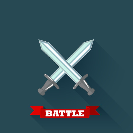swordsmanship: vector illustration with crossing swords in flat design with long shadow and red ribbon   Illustration