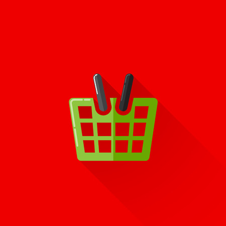 e retailers: vintage illustration of a shopping basket in flat style with long shadow