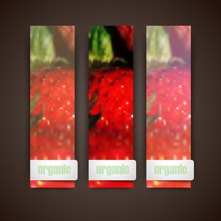 rinds: Set of banners with blurred background of ripe strawberries, vector design Illustration