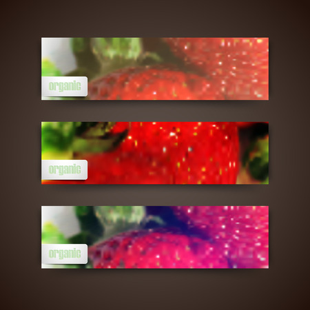 rinds: Set of banners with blurred background of ripe strawberries