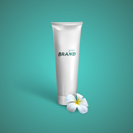 make a paste: White tube mock-up for cream, tooth paste or gel with frangipani exotic flower  Vector packaging illustration for your design