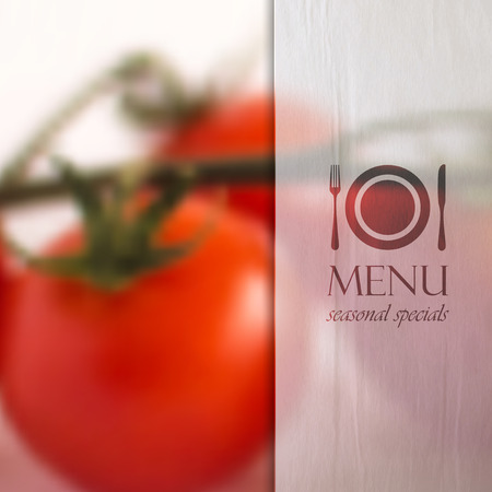 specials: restaurant menu design with background of bunch of tomatoes and paper semi transparent texture, vector design   Appetite comes with eating   Illustration