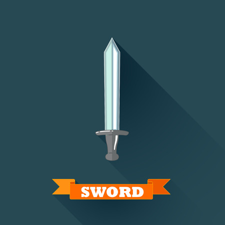 swordsmanship: vector illustration with sword in flat design with long shadow and red ribbon