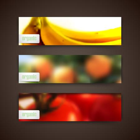 작은 숲: Set of banners with blurred background of orange grove, bananas, tomatoes and organic food labels, vector design